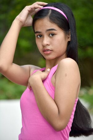 An A Serious Pretty Filipina Female