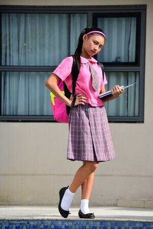 Serious Girl Student Wearing School Uniform Standing