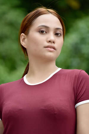 Serious Young Female Woman Wearing Tshirt Imagens