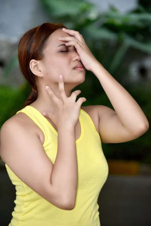 A Stressful Filipina Female Woman