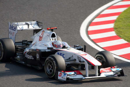 sauber: SUZUKA, JAPAN - OCTOBER 7 : Kamui Kobayashi of Sauber during free practice at 2011 Formula 1 Japanese Grand Prix on October 7, 2011 in Suzuka, Japan.
