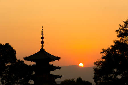 beautiful sunset in Kyoto, japan