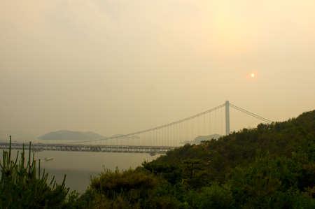 acrophobia: Great Seto Bridge connecting Honshu and Shikoku islands in Japan