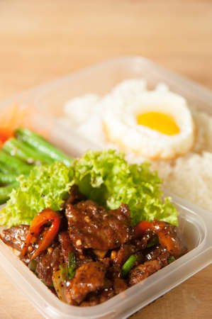 Close of Beef Bento with rice and egg Banco de Imagens