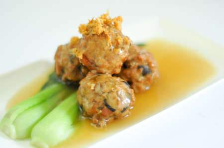 Close up of Chinese Meatballs