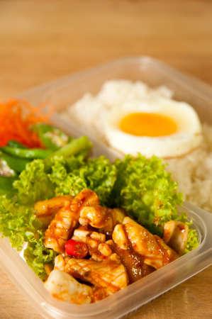 Seafood Bento with rice and egg