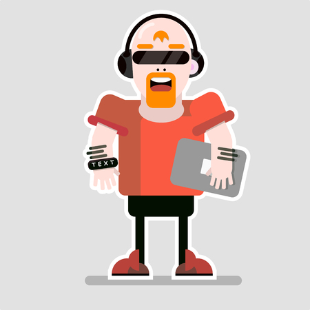 Abstract man character with netbook in cartoon vector illustration