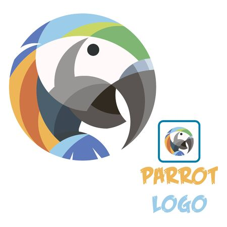 Colorful abstract parrot logo vector fun art illustration