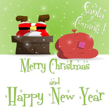 Happy New Year green greeting card with Santa Claus that is stuck in the chimney vector illustration Illustration