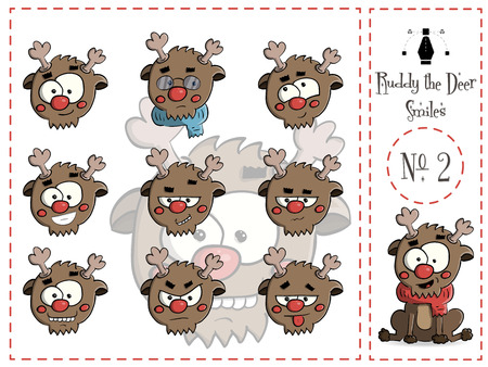 Cute Set of smiles Ruddy the deer 2 vector illustration Stock Photo