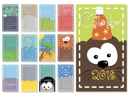 Colorful, cute monthly calendar for 2018 year of a dog. vector Ilustração