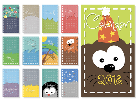 Colorful, cute monthly calendar for 2018 year of a dog. vector Illustration
