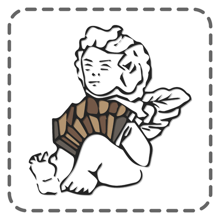 St. Valentines greeting card, cute angel sitting and playing accordion, vector illustration