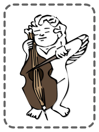 St. Valentines greeting card, cute angel playing on a cello, vector illustration Ilustracja