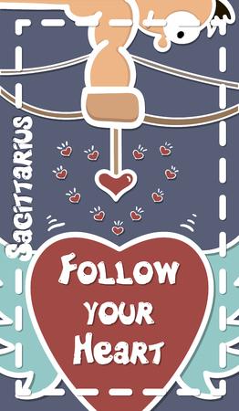 St. Valentine, greeting card. Zodiac, Sagittarius shooting hearts of love vector illustration 일러스트