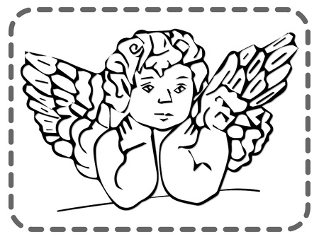 St. Valentines greeting card, cute wonder angel, vector illustration Vettoriali