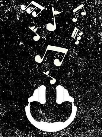 White headphones on a black retro background plays musical notes, vector illustration.