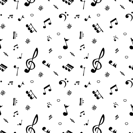 Seamless pattern wallpaper of realistic musical notes. Vector Illustration