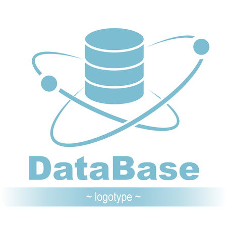 Database icon. Simple flat logo of the database with orbit and satellite 03, vector illustration Stock Vector - 94837949
