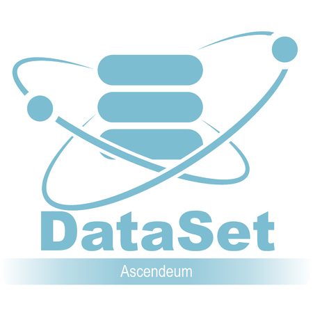 Database icon. Simple flat logo of the database with orbit and satellite 04, vector illustration