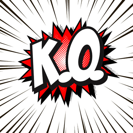 Lettering K.O. Comics book text balloon. Bubble icon, isolated vector red halftone illustration