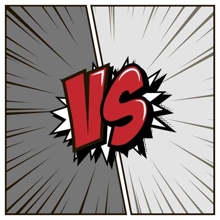 Comic styled background. Gray versus, vector 일러스트