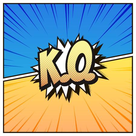 Komiks w stylu tła. Kolorowe KO, wektor Ilustracje wektorowe