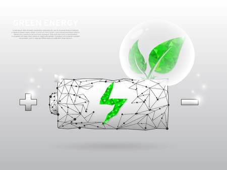 Battery Charging ECO Icon form lines and triangles point connecting network with a green leaf that grows of it on white background. Low poly wireframe, polygonal vector illustration Ilustração
