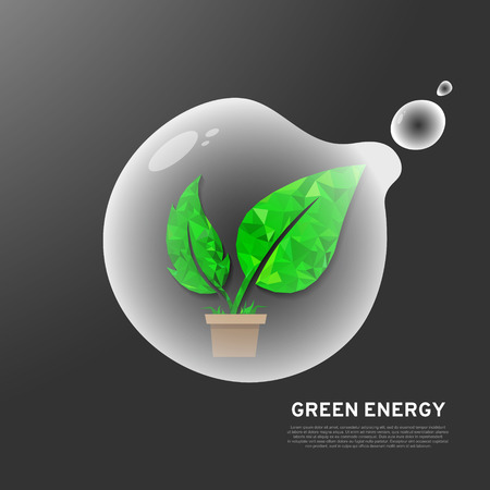 ECO Green leaf that inside the flying bubble on gray background. Abstract ecological concept art, green energy vector illustration Ilustração