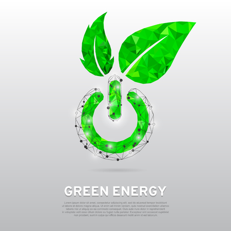 Green ECO Energy Power button with leaves for ecology, eco friendly, natural business or product, green low poly vector illustration abstract concept art on gray background