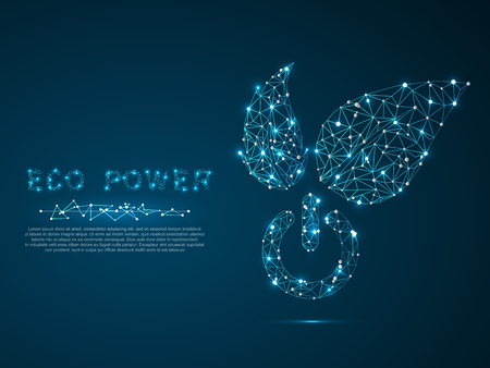 Green Energy ECO Power button with leaves for ecology, eco friendly, vector polygonal art style. Low poly wireframe illustration with scattered particles and light effects on a dark blue background