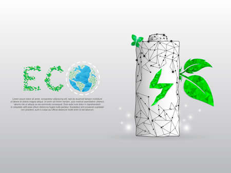 Battery Charging ECO energy, planet Earth form lines and triangles point with a green leaf that grows of it on white background. Low poly wireframe, polygonal vector illustration