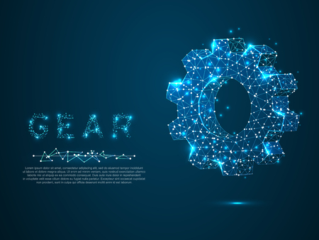 Gears. Industry development, engine work, business solution concept. Mechanical technology machine engineering symbol. Vector poligonal wireframe gear 3d illustration on dark blue background