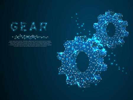 Gears. Vector poligonal wireframe gear 3d illustration on dark blue background. Industry development, engine work, business solution concept. Mechanical technology machine engineering symbol