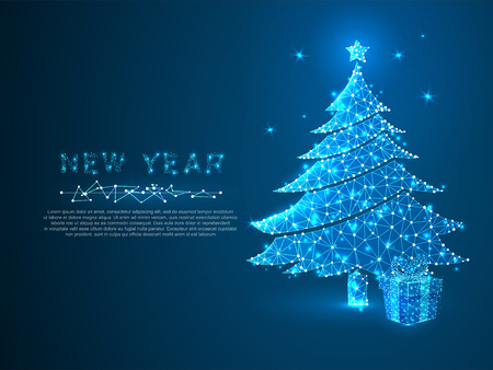 New year tree and gift box made from lines, triangles, point connecting network on blue background. Holiday wireframe concept. Low-poly Vector polygonal illustration