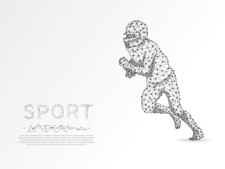 Running American football player with the ball, made from lines, triangles, point connecting network illustration on white background. 3d low-poly wireframe Vector polygonal image Ilustração