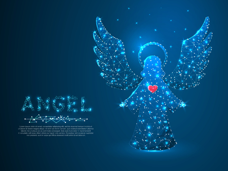 Christmas Angel with red heart holding stars. Polygonal low poly with connecting dots and lines. Holiday wireframe concept. Connection structure. Vector illustration Ilustración de vector