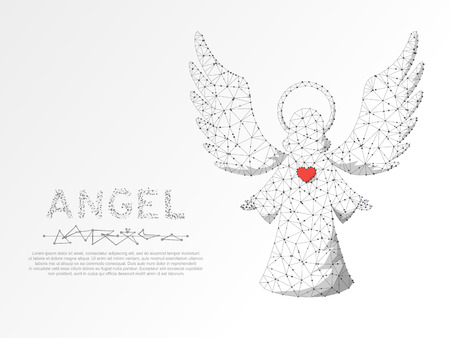 Christmas Angel with red heart. Polygonal low poly with connecting dots and lines. Holiday wireframe concept. Connection structure. Vector illustration on white background
