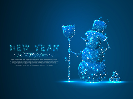 Snowman Polygonal space low poly with connecting dots and lines. Winter holiday snowman with a broom wireframe concept. Connection structure. Vector on dark blue background