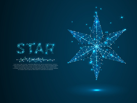 Volumetric star with six rays. Polygonal space low poly with connecting dots and lines. Star in the sky concept. Connection wireframe structure. Vector on dark blue background