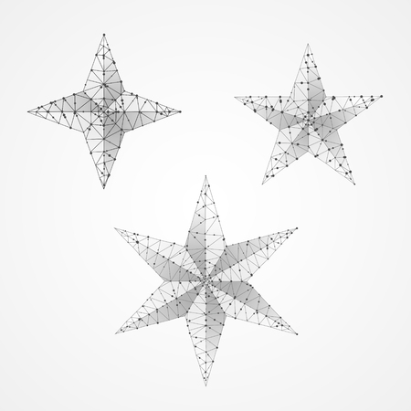 Set of Volumetric stars. Polygonal space low poly with connecting dots and lines. Star in the sky concept. Connection wireframe structure. Vector on white background
