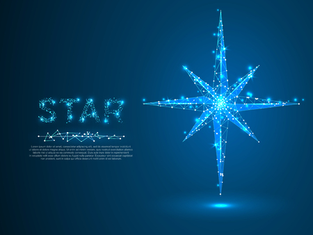 Polar Volumetric star with eight rays. Polygonal space low poly with connecting dots and lines. Star in the sky concept. Connection wireframe structure. Vector on dark blue background