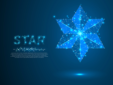 Big, bold Volumetric star with six rays. Polygonal space low poly with connecting dots and lines. Star in the sky concept. Connection wireframe structure. Vector on dark blue background
