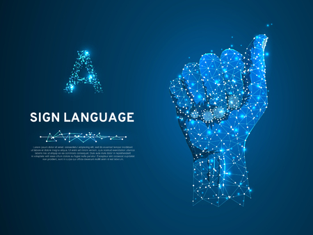 Sign language A letter, hand that use the visual-manual modality to convey meaning. Polygonal space low poly style. People communication concept. Connection wireframe. Vector on dark blue background