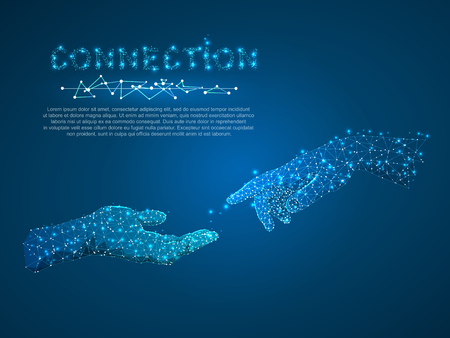 Hands connection, business conversation, Polygonal space low poly with connecting dots and lines. people communication concept. Connection wireframe structure. Vector on dark blue background