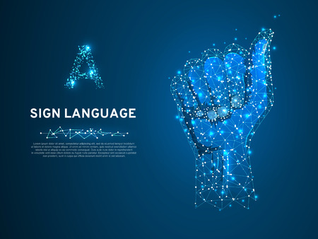 Sign language A letter, Polygonal space low poly style. People communication concept. Hand that use the visual-manual modality to convey meaning. Wireframe connection. Vector with dark blue background