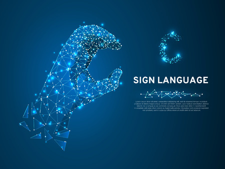 Sign language C letter, hand that use the visual-manual modality to convey meaning. Polygonal space low poly style. People silent communication. Connection wireframe. Vector on dark blue background
