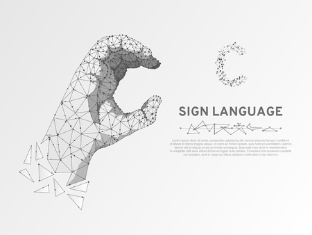 Origami Sign language C letter, hand that use the visual-manual modality to convey meaning. Polygonal space low poly style. People silent communication. Connection wireframe Vector on white background