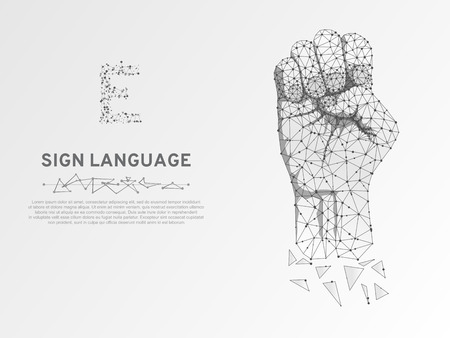 Origami Sign language E letter, hand that use the visual-manual modality to convey meaning. Polygonal space low poly style. People silent communication. Connection wireframe Vector on white background