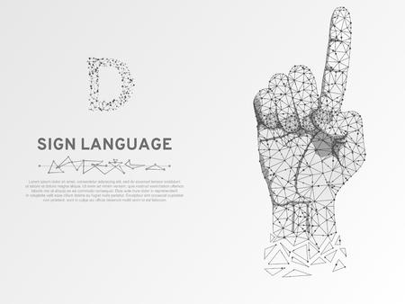 Origami Linguaggio dei segni Lettera D, mano che utilizza la modalità visivo-manuale per trasmettere il significato. Stile poligonale basso spazio poligonale. Comunicazione silenziosa delle persone. Wireframe di connessione vettore su sfondo bianco